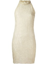 Romeo Gigli Vintage Creased Effect Mini Dress Metallic