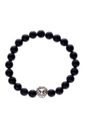 Jean Claude Lion Head Charm Black Matte Agate Bead Stretch Bracelet Beige