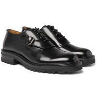 Valentino Buckle Detailed Glossed Leather Derby Shoes Black