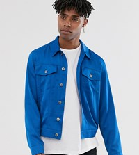 Heart And Dagger Satin Trucker Jacket In Blue
