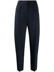 Alexander Mcqueen Pleat Detailed Cropped Trousers Blue
