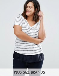 Junarose Plus Striped T Shirt With Pleated Hem White