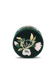Wolf Floral Round Jewellery Box Forest Green