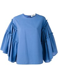 Msgm Striped Ruffle Sleeve Top Women Cotton Polyester 38 Blue