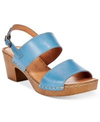White Mountain Motor Block Heel Platform Sandals Women's Shoes Blue