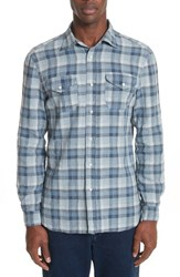 Eidos Napoli Atlas Check Washed Linen Sport Shirt Blue And Brown