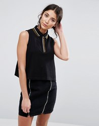 Native Youth Loose Fit Polo Crop Top Black