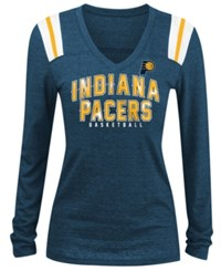 5Th And Ocean Women's Indiana Pacers Foil Stripe Long Sleeve T Shirt Navy