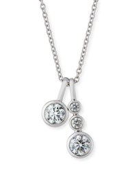 Memoire Forevermark 18K White Gold Four Diamond Pendant Necklace