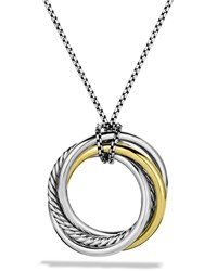 Crossover Pendant With Gold On Chain David Yurman Silver
