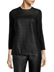 Escada Linda Leather Front Jersey Top Black