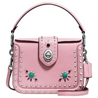 Coach Page Western Rivets Leather Across Body Bag Pink