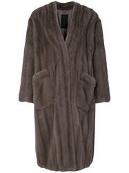 Liska Viro Fur Coat Grey