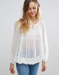 Raga Summer Fling Sheer Blouse Eggshell White