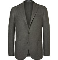 Boglioli Grey Slim Fit Wool Cotton And Cashmere Blend Blazer Stone