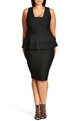 City Chic Plus Size Women's Sexy Stripe Tiered Peplum Sheath Dress