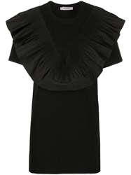 Valentino Ruffle Bib Long Blouse Black