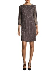 J Kara Sequined Sheer Sleeve Dress Slate Mercury