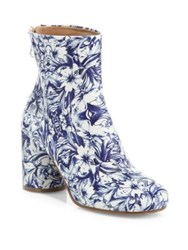 Maison Martin Margiela Floral Print Leather Block Heel Booties Unique Variant