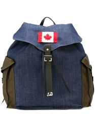 Dsquared2 Denim Backpack Men Cotton One Size Blue