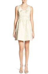 Junior Women's Frenchi Metallic Jacquard Fit And Flare Dress Ivory Egret