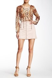 Jessica Simpson Faux Suede Button Front Skirt Pink