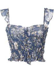 Misa Los Angeles Cropped Ruched Top Blue