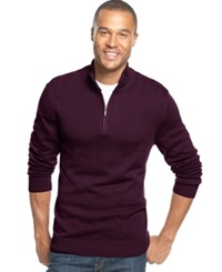 John Ashford Solid Quarter Zip Sweater Red Plum
