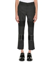Alexander Mcqueen Mixed Plaid Cropped Trousers Gray Multi