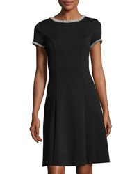 Karl Lagerfeld Beadl Trim Fit And Flare Dress Black