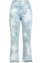 Each X Other Embroidered Distressed Mid Rise Boyfriend Jeans Light Denim