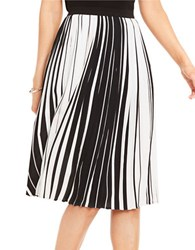Vince Camuto Linear Accordion Striped Pleated Skirt Black White
