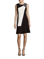T Tahari Sleeveless Colorblocked Fit And Flare Dress Black Combo