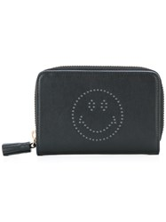 Anya Hindmarch Smiley Zip Around Wallet Black