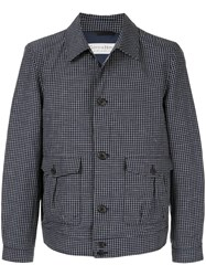 Gieves And Hawkes Grid Pattern Jacket Blue