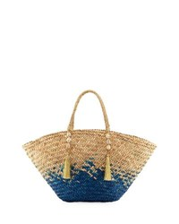 Flora Bella Ipanema Open Top Straw Beach Tote Bag Blue