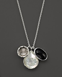 Ippolita Sterling Silver Wonderland 3 Stone Charm Necklace In Astaire Black White
