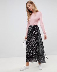 Liquorish Mix And Match Floral And Spot Print Wrap Skirt Navy Floral