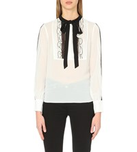 Karen Millen Lace And Ruffle Blouse With Necktie Cream