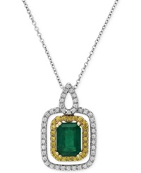 Effy Collection Brasilica By Effy Emerald 1 3 8 Ct. T.W. And Diamond 1 4 Ct. T.W. Pendant Necklace In 14K Yellow And White Gold Green