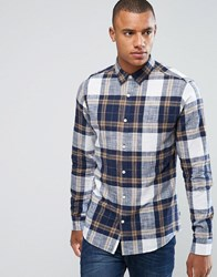 Only And Sons Shirt In Slim Fit Cotton Check Lead Grey Navy
