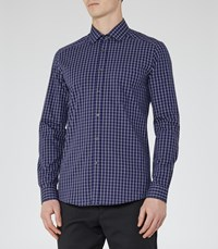 Reiss Madano Mens Checked Cotton Shirt In Blue