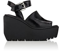 Opening Ceremony Women's Luna Spazzolato Leather Platform Wedge Sandals Black