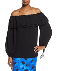 Michael Kors Collection Off The Shoulder Silk Peasant Blouse Black Size X Small