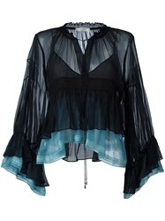 Chloe Colour Block Tiered Top Blue