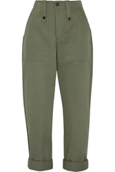 Bassike Cotton Canvas Pants Army Green