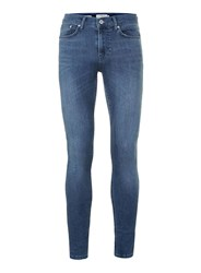 Topman Dark Wash Blue Super Spray On Skinny Jeans