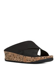Fitflop Kys Tm Leather Wedge Sandals Black