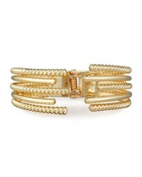 Lydell Nyc Textured Hinged Cuff Bracelet Gold