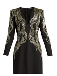 Alexander Mcqueen Bead Embroidered Wool Blend Mini Dress Black Multi